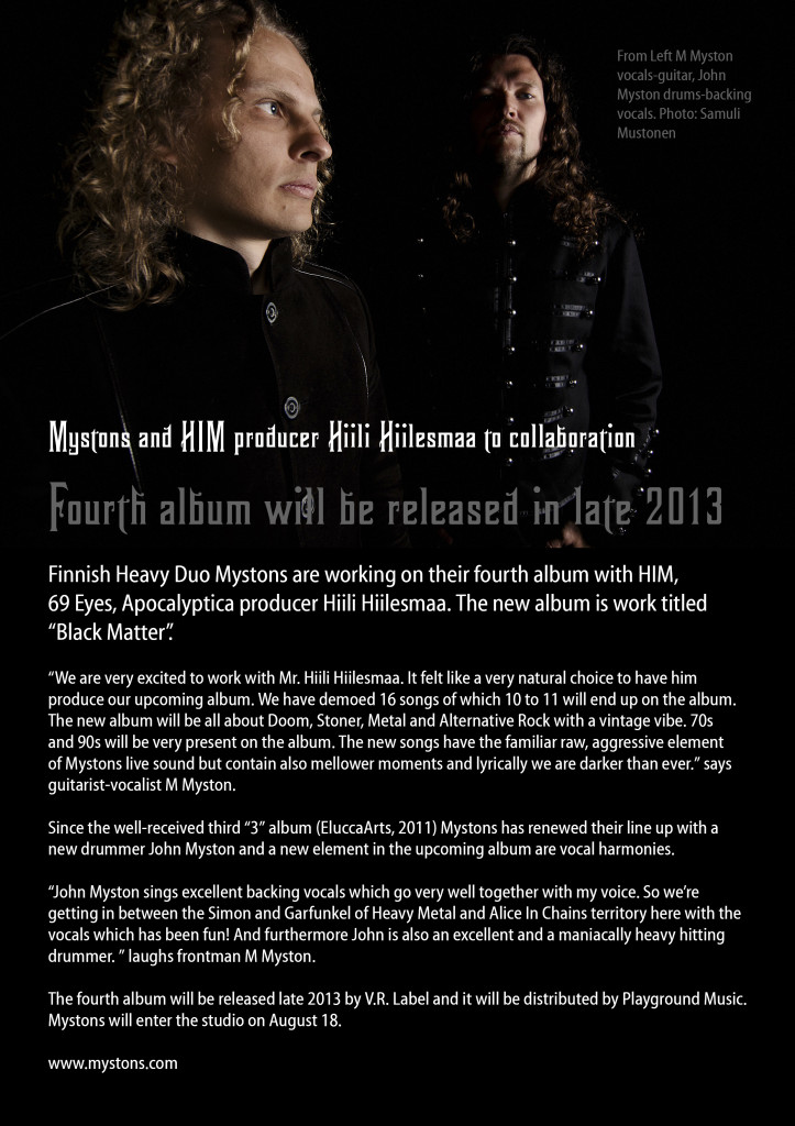 Press release Mystons 4th album Aug 1 2013