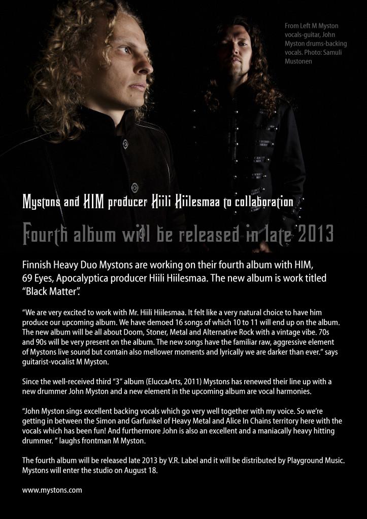 Press release Mystons 4th album Aug 1 2013