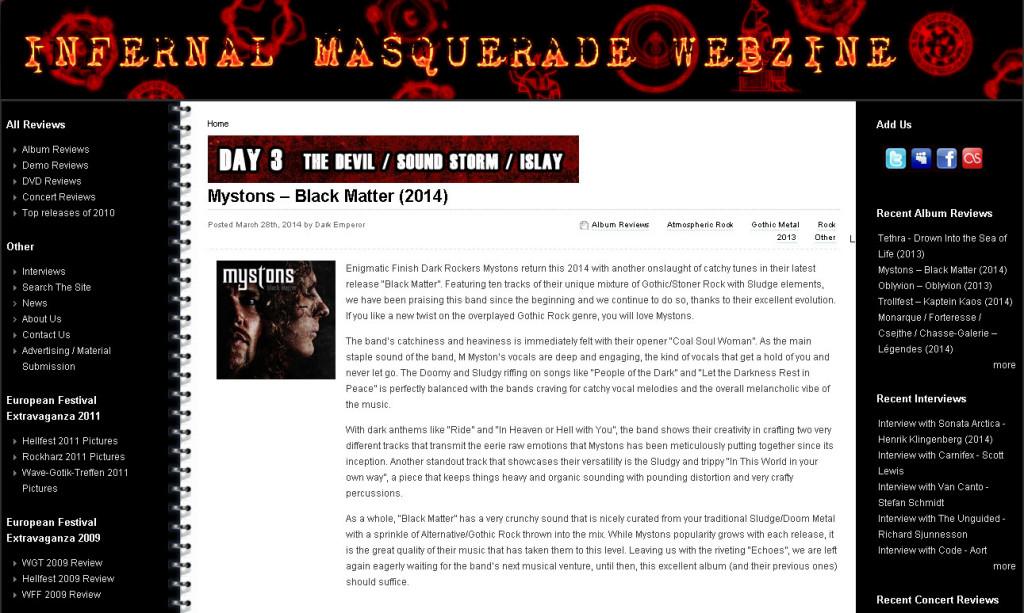 Infernal Masquerade webzine